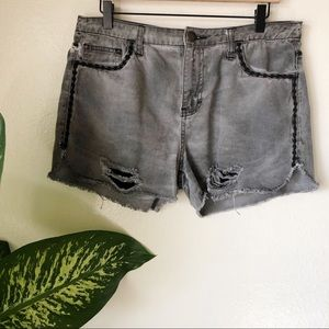 Free People | Distressed Embroidered Shorts